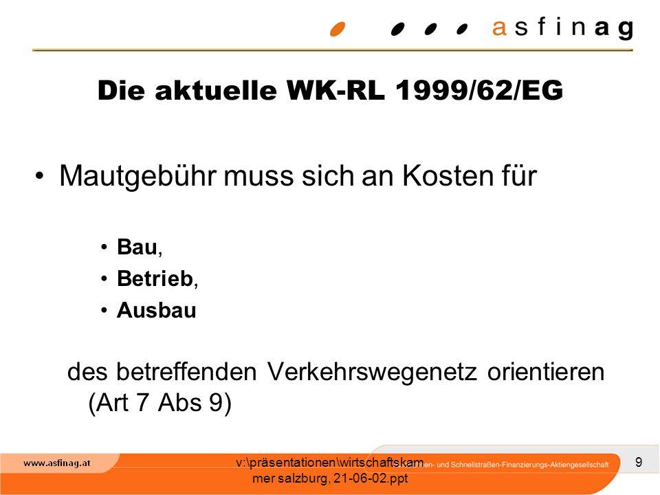 v:\präsentationen\wirtschaftskam mer salzburg, 21-06-02.ppt 9 Die aktuelle WK-RL 1999/62/EG Mautgebühr muss sich an Kosten für Bau, Betrieb, Ausbau de