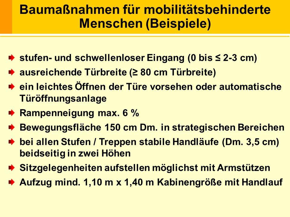 Beispiele: (von Architektin DI Klenovec) Rampe aus Stahl, 1 m lang mit Handlauf … 1.000,- Türverbreiterung bei Umbau … bis 2.500,- Drehflügeltüre mit autom.