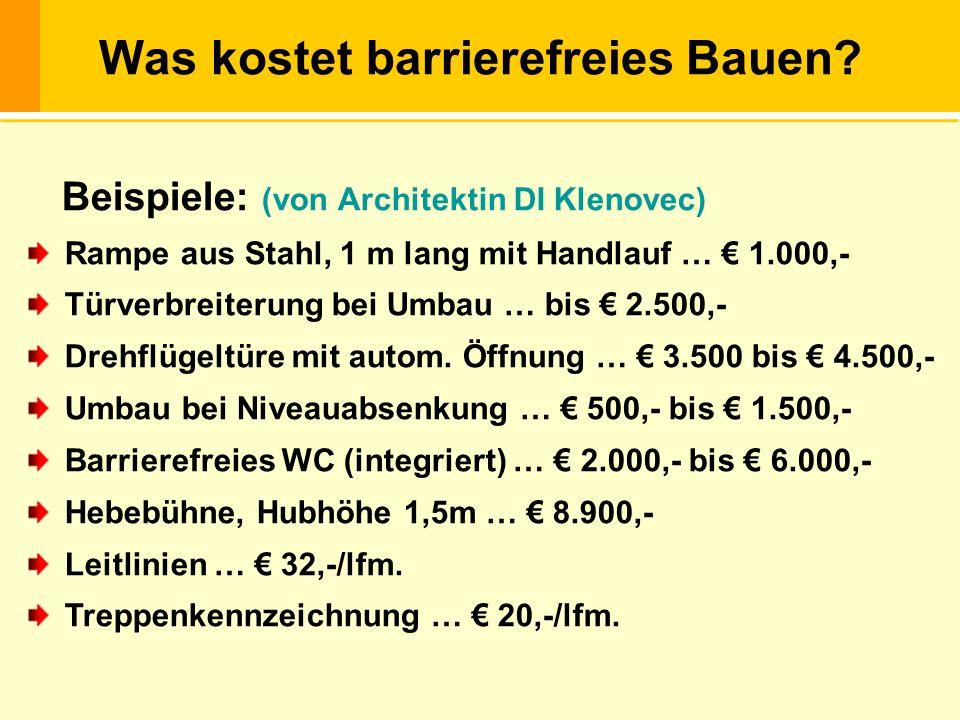 Beispiele: (von Architektin DI Klenovec) Rampe aus Stahl, 1 m lang mit Handlauf … 1.000,- Türverbreiterung bei Umbau … bis 2.500,- Drehflügeltüre mit