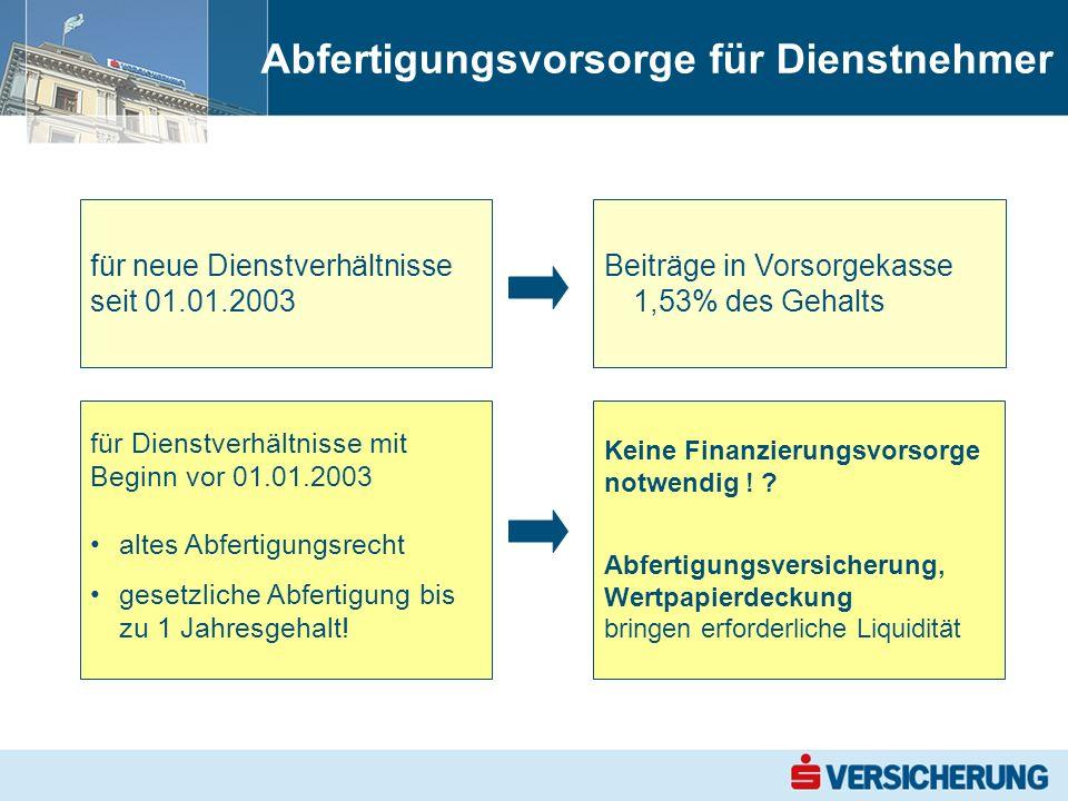 Abfertigungsvorsorge für Dienstnehmer für neue Dienstverhältnisse seit 01.01.2003 für Dienstverhältnisse mit Beginn vor 01.01.2003 altes Abfertigungsrecht gesetzliche Abfertigung bis zu 1 Jahresgehalt.