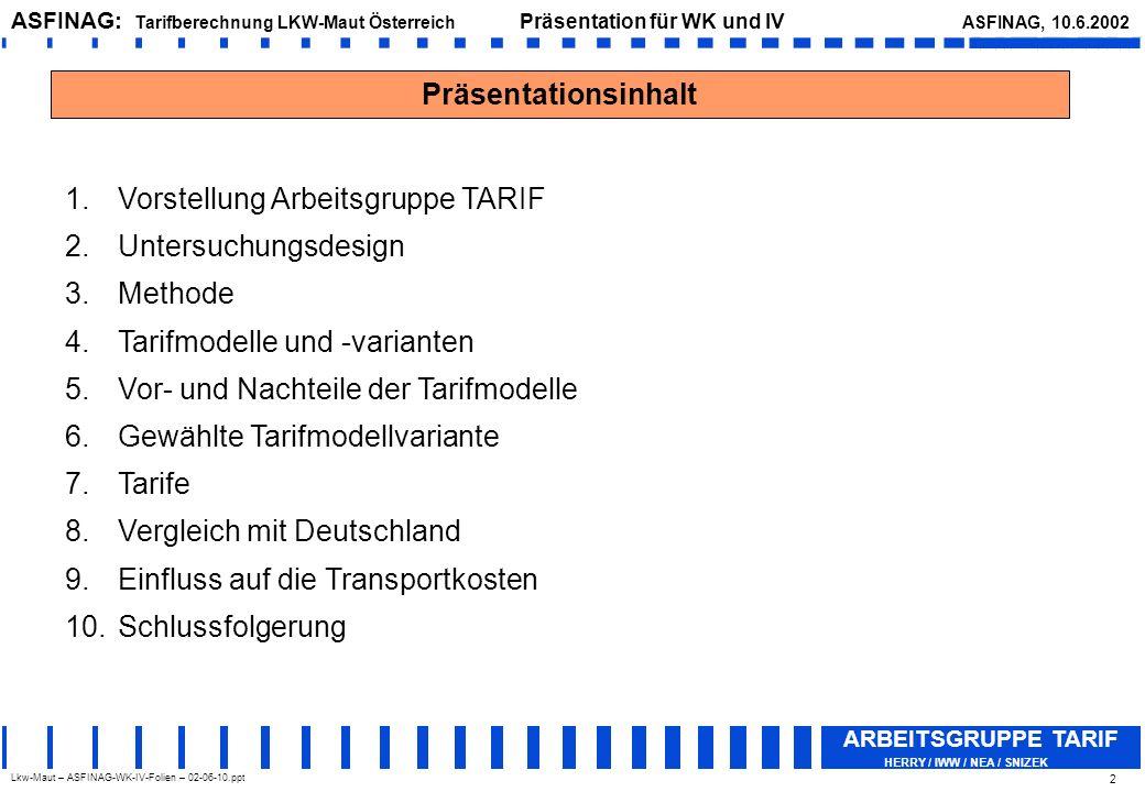Lkw-Maut – ASFINAG-WK-IV-Folien – 02-06-10.ppt ASFINAG: Tarifberechnung LKW-Maut Österreich Präsentation für WK und IV ASFINAG, 10.6.2002 ARBEITSGRUPPE TARIF HERRY / IWW / NEA / SNIZEK 3 ARBEITSGRUPPE TARIF Die Arbeitsgruppe TARIF ist ein internationales Expertenteam und besteht aus folgenden Teammitgliedern: HERRY (Max Herry, Norbert Sedlacek) - Projektleitung IWW - Universität Karlruhe – Institut für Wirtschaftspolitik und Wirtschaftsforschung (Werner Rothengatter, Claus Doll) NEA – Niederlande (Hans Visser, Martin Quispel) SNIZEK (Sepp Snizek, Peter Klausegger)