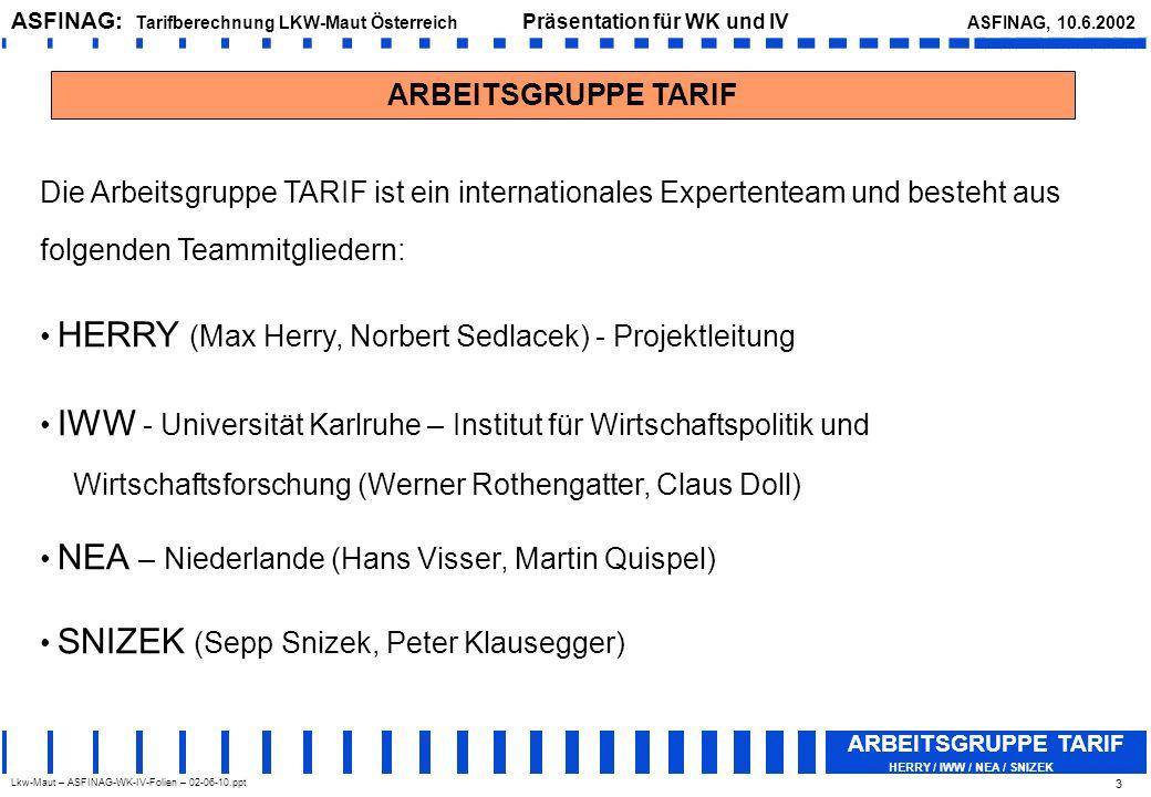 Lkw-Maut – ASFINAG-WK-IV-Folien – 02-06-10.ppt ASFINAG: Tarifberechnung LKW-Maut Österreich Präsentation für WK und IV ASFINAG, 10.6.2002 ARBEITSGRUPPE TARIF HERRY / IWW / NEA / SNIZEK 4 Untersuchungsdesign (1) Die grundsätzliche Methode zur Berechnung der (zulässigen) Mauthöhe hat sich an der (gültigen) Wegekostenrichtlinie 1999/62/EG zu orientieren, denn sie legt (insbesondere) im Artikel 7, Absatz (9), fest: Die gewogenen durchschnittlichen Mautgebühren müssen sich an den Kosten für den Bau, den Betrieb und den Ausbau des betreffenden Verkehrsnetzes orientieren.