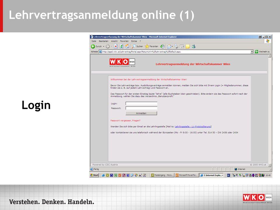 Lehrvertragsanmeldung online (1) Login