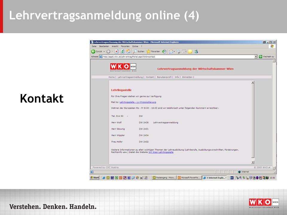 Lehrvertragsanmeldung online (4) Kontakt
