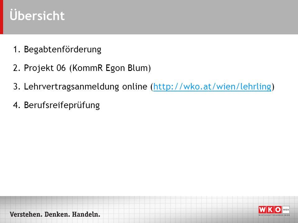 Übersicht 1. Begabtenförderung 2. Projekt 06 (KommR Egon Blum) 3. Lehrvertragsanmeldung online (http://wko.at/wien/lehrling)http://wko.at/wien/lehrlin