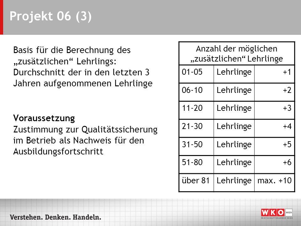 Projekt 06 (3) Basis für die Berechnung des zusätzlichen Lehrlings: Durchschnitt der in den letzten 3 Jahren aufgenommenen Lehrlinge Voraussetzung Zus