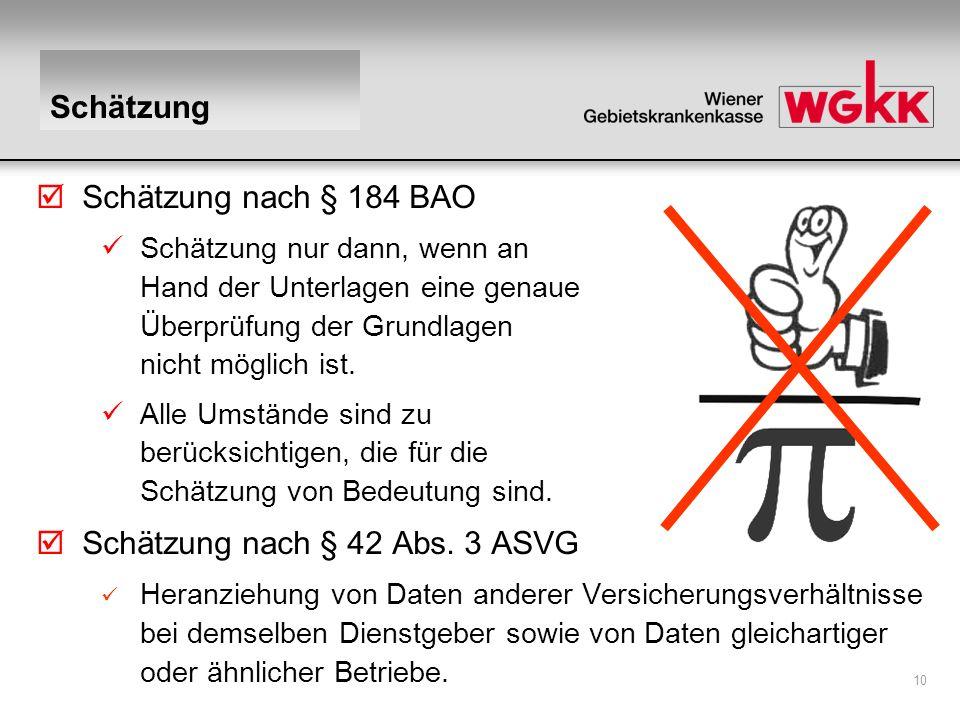 10 Schätzung Schätzung nach § 184 BAO Schätzung nur dann, wenn an Hand der Unterlagen eine genaue Überprüfung der Grundlagen nicht möglich ist. Alle U