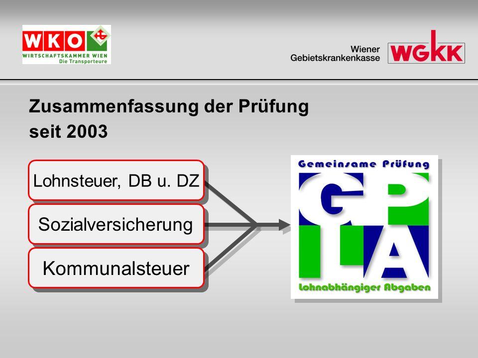 2 Zusammenfassung der Prüfung seit 2003 Lohnsteuer, DB u. DZ Sozialversicherung Kommunalsteuer