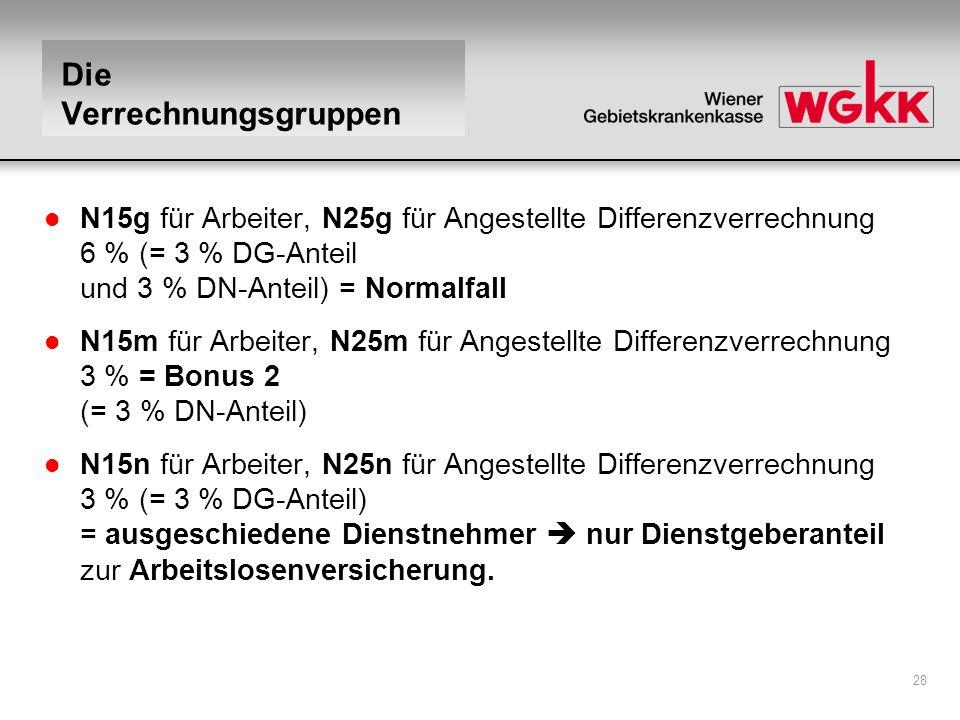 28 Die Verrechnungsgruppen l N15g für Arbeiter, N25g für Angestellte Differenzverrechnung 6 % (= 3 % DG-Anteil und 3 % DN-Anteil) = Normalfall l N15m