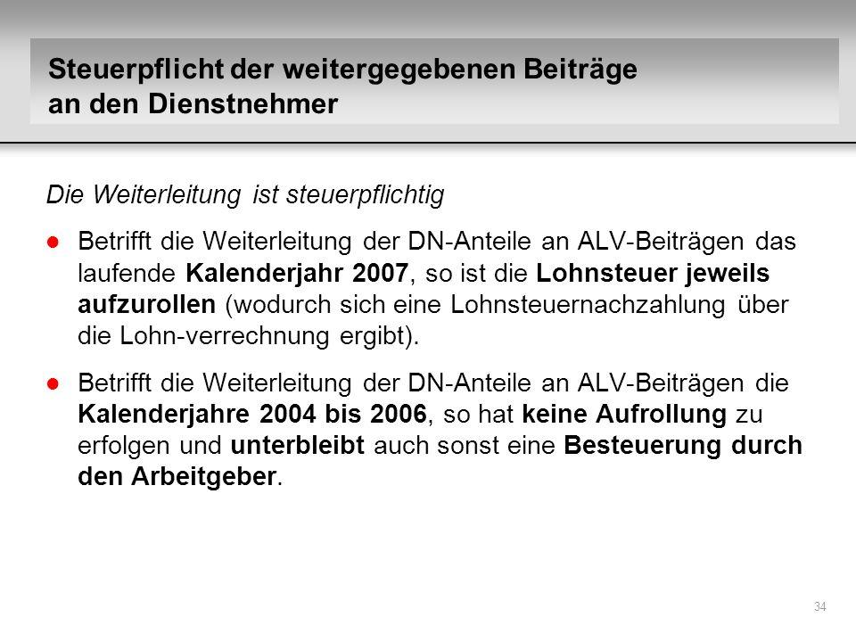 34 Die Weiterleitung ist steuerpflichtig l Betrifft die Weiterleitung der DN-Anteile an ALV-Beiträgen das laufende Kalenderjahr 2007, so ist die Lohns