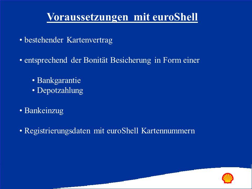 bestehender Kartenvertrag entsprechend der Bonität Besicherung in Form einer Bankgarantie Depotzahlung Bankeinzug Registrierungsdaten mit euroShell Ka