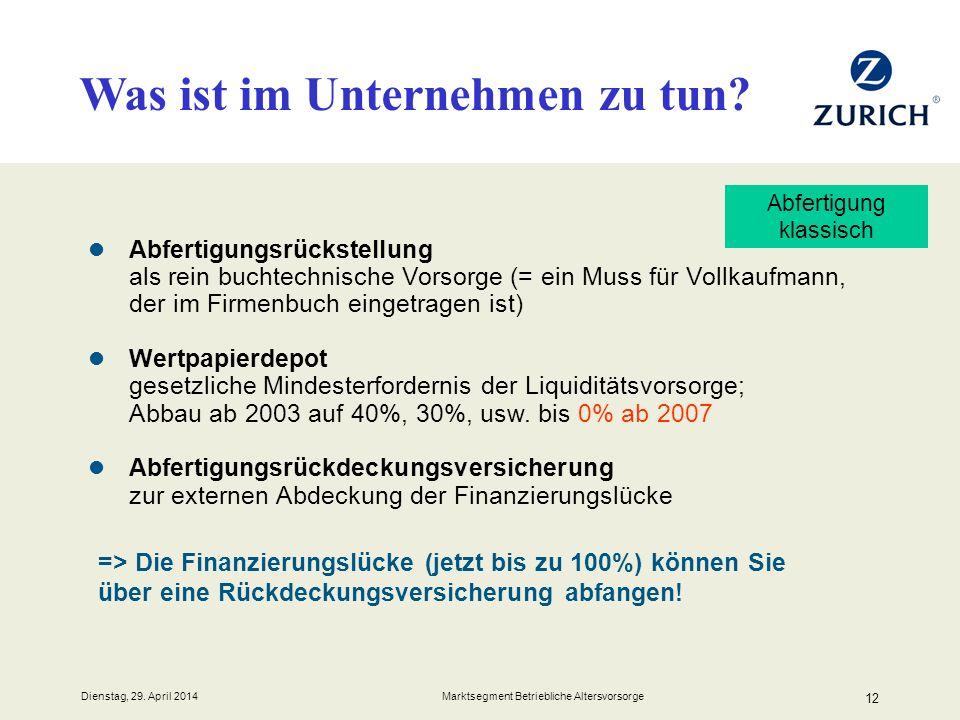 Dienstag, 29. April 2014 Marktsegment Betriebliche Altersvorsorge 12 Abfertigungsrückstellung als rein buchtechnische Vorsorge (= ein Muss für Vollkau
