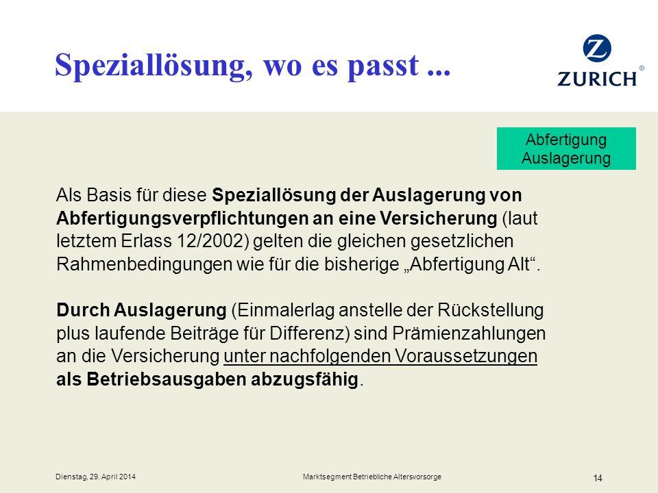 Dienstag, 29. April 2014 Marktsegment Betriebliche Altersvorsorge 14 Als Basis für diese Speziallösung der Auslagerung von Abfertigungsverpflichtungen