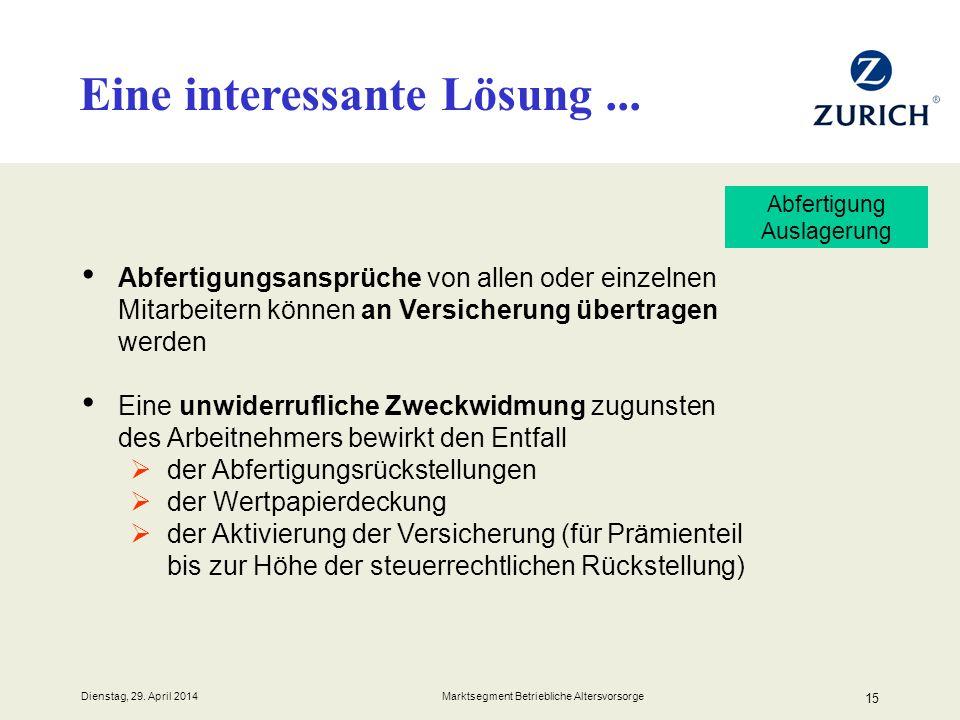 Dienstag, 29. April 2014 Marktsegment Betriebliche Altersvorsorge 15 Abfertigungsansprüche von allen oder einzelnen Mitarbeitern können an Versicherun