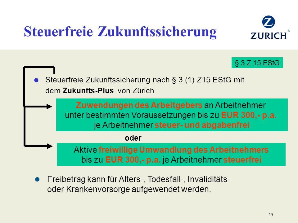 19 Steuerfreie Zukunftssicherung nach § 3 (1) Z15 EStG mit dem Zukunfts-Plus von Zürich § 3 Z 15 EStG Freibetrag kann für Alters-, Todesfall-, Invalid