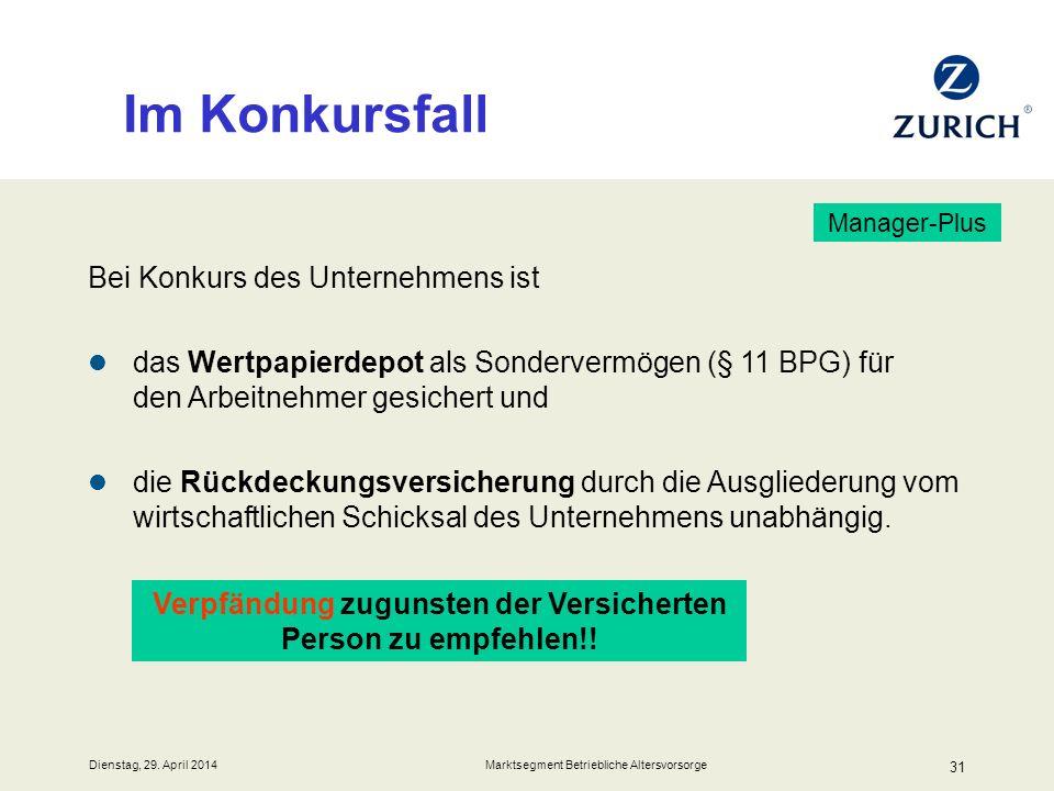 Dienstag, 29. April 2014 Marktsegment Betriebliche Altersvorsorge 31 Im Konkursfall Bei Konkurs des Unternehmens ist das Wertpapierdepot als Sonderver