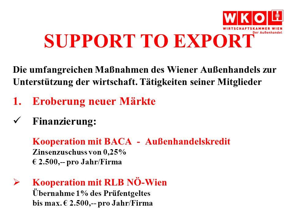 SUPPORT TO EXPORT Die umfangreichen Maßnahmen des Wiener Außenhandels zur Unterstützung der wirtschaft.