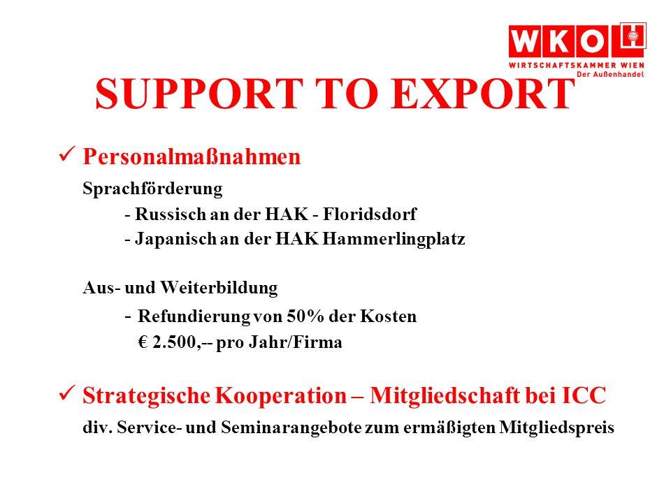 SUPPORT TO EXPORT Personalmaßnahmen Sprachförderung - Russisch an der HAK - Floridsdorf - Japanisch an der HAK Hammerlingplatz Aus- und Weiterbildung - Refundierung von 50% der Kosten 2.500,-- pro Jahr/Firma Strategische Kooperation – Mitgliedschaft bei ICC div.