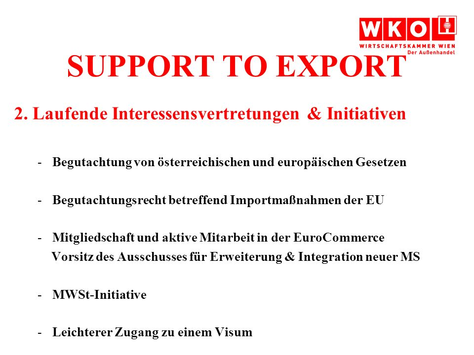 SUPPORT TO EXPORT 2.