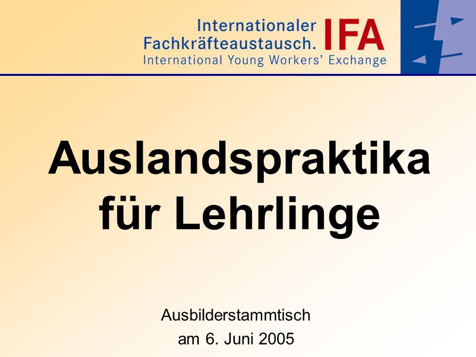 Auslandspraktika für Lehrlinge Ausbilderstammtisch am 6. Juni 2005