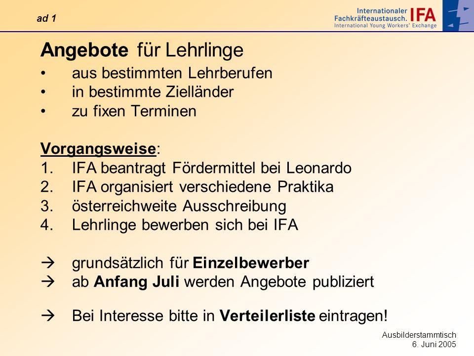 Ausbilderstammtisch 6. Juni 2005 Angebote für Lehrlinge aus bestimmten Lehrberufen in bestimmte Zielländer zu fixen Terminen Vorgangsweise: 1.IFA bean