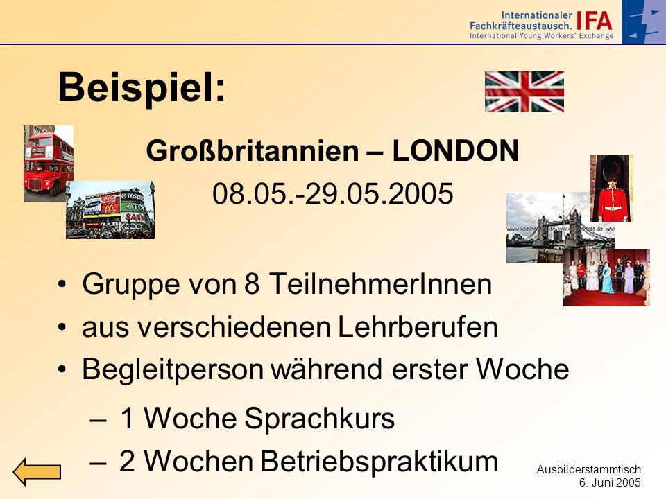 Ausbilderstammtisch 6. Juni 2005 Beispiel: Großbritannien – LONDON 08.05.-29.05.2005 Gruppe von 8 TeilnehmerInnen aus verschiedenen Lehrberufen Beglei
