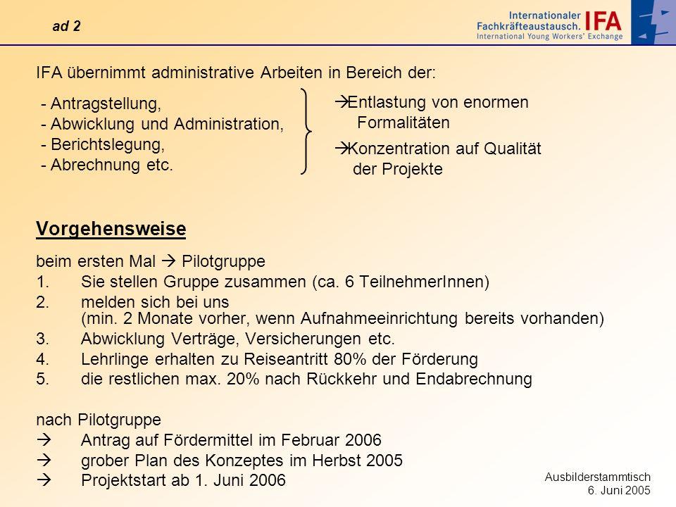 Ausbilderstammtisch 6. Juni 2005 IFA übernimmt administrative Arbeiten in Bereich der: - Antragstellung, - Abwicklung und Administration, - Berichtsle