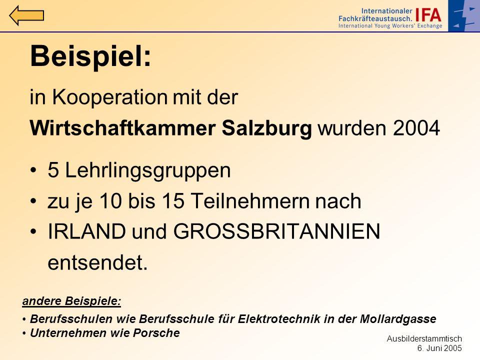 Ausbilderstammtisch 6. Juni 2005 Beispiel: in Kooperation mit der Wirtschaftkammer Salzburg wurden 2004 5 Lehrlingsgruppen zu je 10 bis 15 Teilnehmern