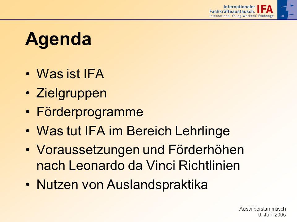 Ausbilderstammtisch 6. Juni 2005 Agenda Was ist IFA Zielgruppen Förderprogramme Was tut IFA im Bereich Lehrlinge Voraussetzungen und Förderhöhen nach