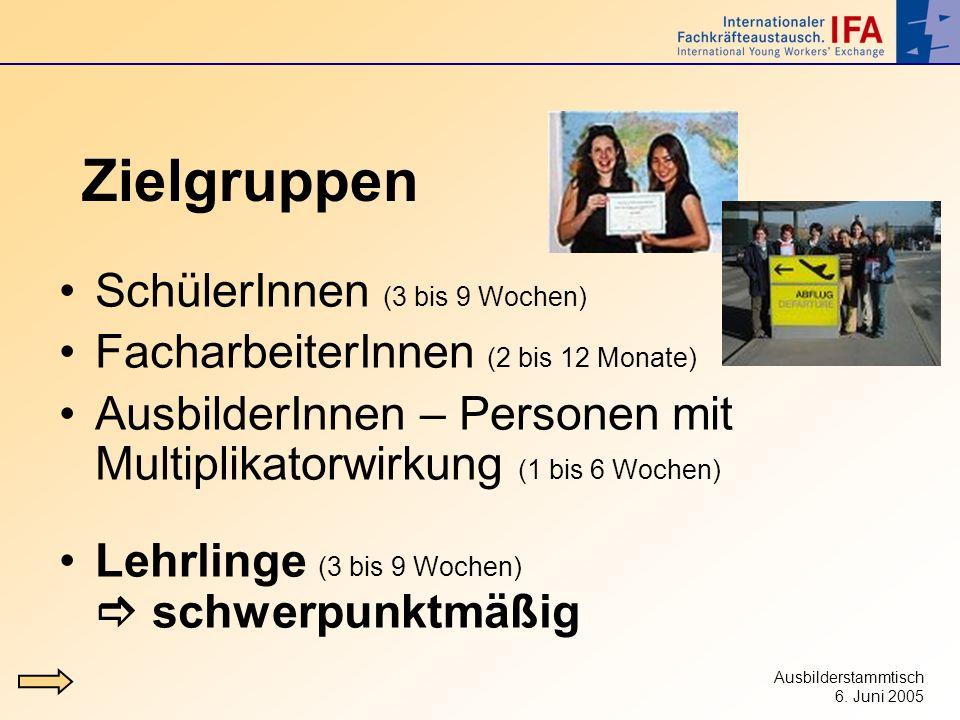 Ausbilderstammtisch 6. Juni 2005 Zielgruppen SchülerInnen (3 bis 9 Wochen) FacharbeiterInnen (2 bis 12 Monate) AusbilderInnen – Personen mit Multiplik