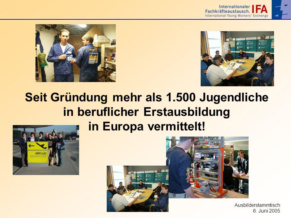 Ausbilderstammtisch 6. Juni 2005 Seit Gründung mehr als 1.500 Jugendliche in beruflicher Erstausbildung in Europa vermittelt!