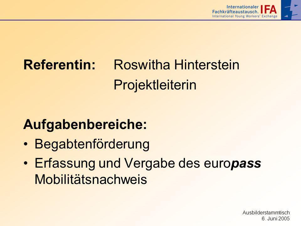 Ausbilderstammtisch 6. Juni 2005 Referentin:Roswitha Hinterstein Projektleiterin Aufgabenbereiche: Begabtenförderung Erfassung und Vergabe des europas