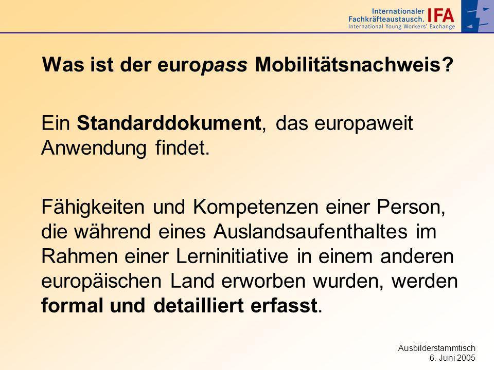 Ausbilderstammtisch 6. Juni 2005 Was ist der europass Mobilitätsnachweis? Ein Standarddokument, das europaweit Anwendung findet. Fähigkeiten und Kompe