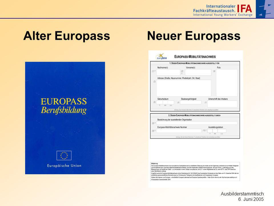 Ausbilderstammtisch 6. Juni 2005 Alter Europass Neuer Europass