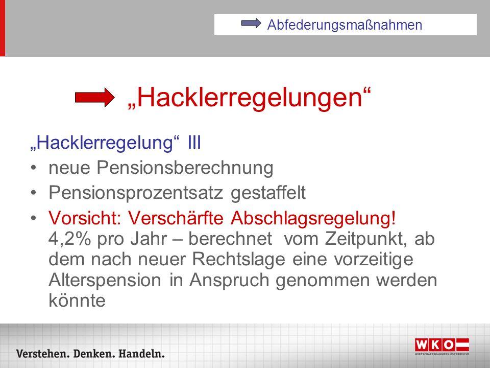 Hacklerregelungen Hacklerregelung III neue Pensionsberechnung Pensionsprozentsatz gestaffelt Vorsicht: Verschärfte Abschlagsregelung! 4,2% pro Jahr –