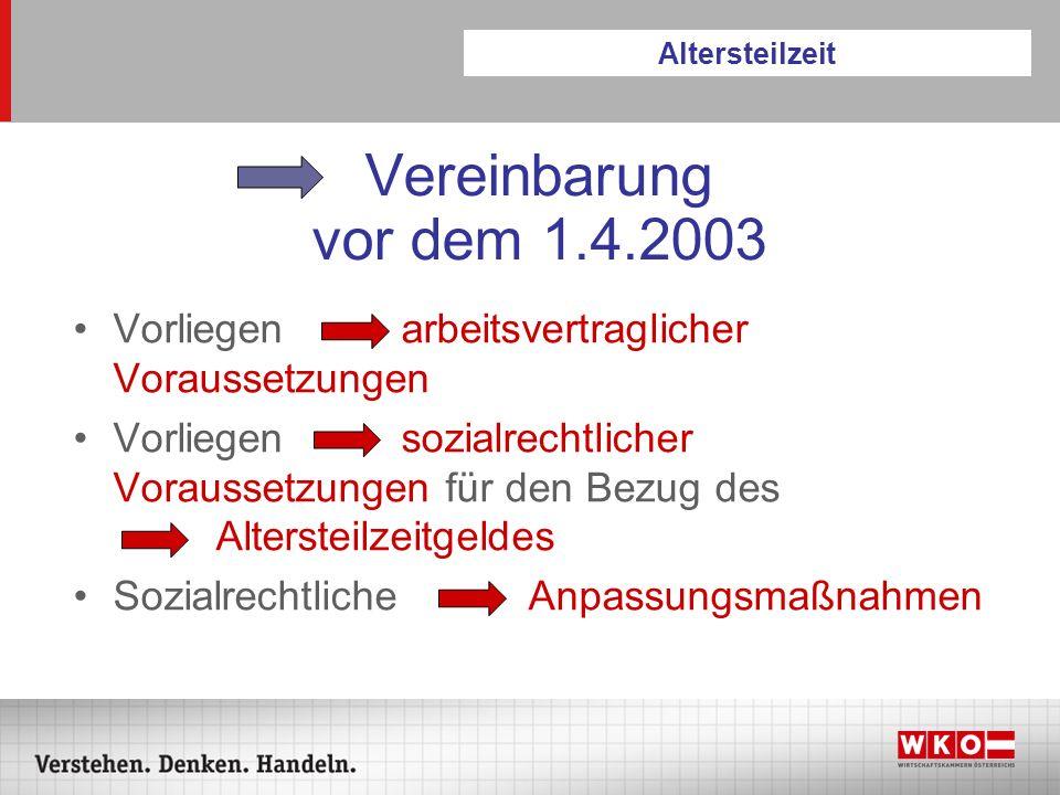 Vereinbarung vor dem 1.4.2003 Vorliegen arbeitsvertraglicher Voraussetzungen Vorliegen sozialrechtlicher Voraussetzungen für den Bezug des Altersteilz