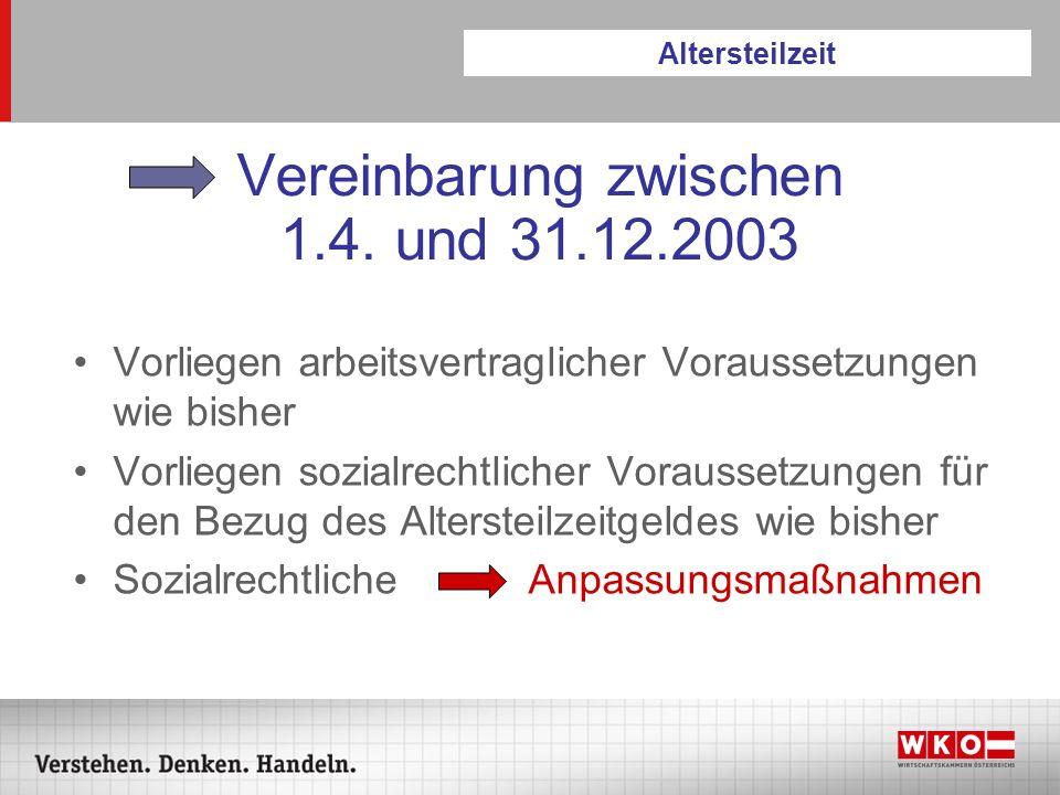 Vereinbarung zwischen 1.4. und 31.12.2003 Vorliegen arbeitsvertraglicher Voraussetzungen wie bisher Vorliegen sozialrechtlicher Voraussetzungen für de