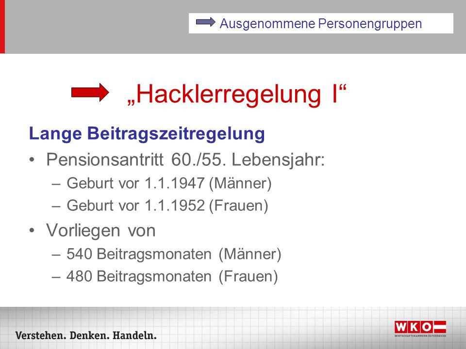 Hacklerregelung I Lange Beitragszeitregelung Pensionsantritt 60./55. Lebensjahr: –Geburt vor 1.1.1947 (Männer) –Geburt vor 1.1.1952 (Frauen) Vorliegen