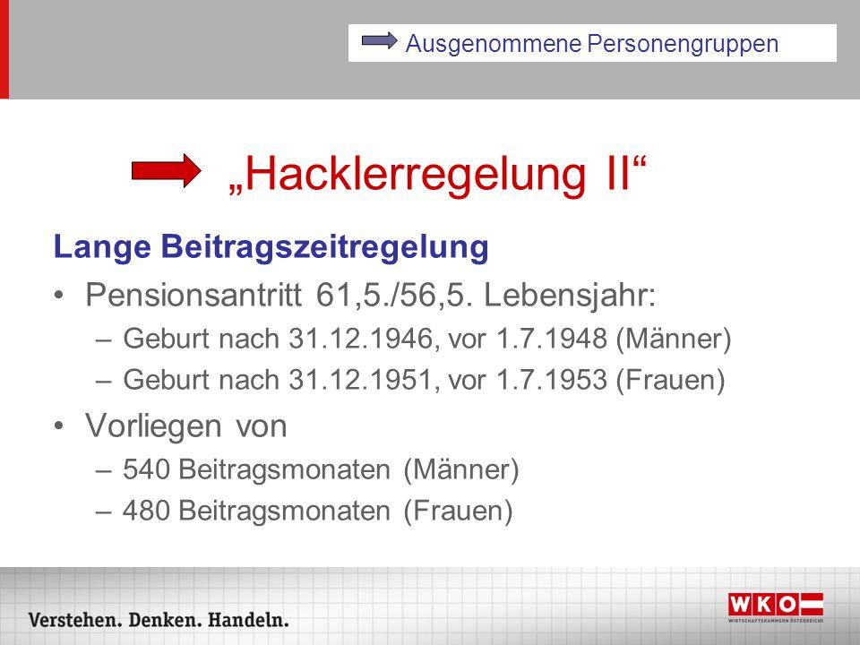 Hacklerregelung II Lange Beitragszeitregelung Pensionsantritt 61,5./56,5. Lebensjahr: –Geburt nach 31.12.1946, vor 1.7.1948 (Männer) –Geburt nach 31.1