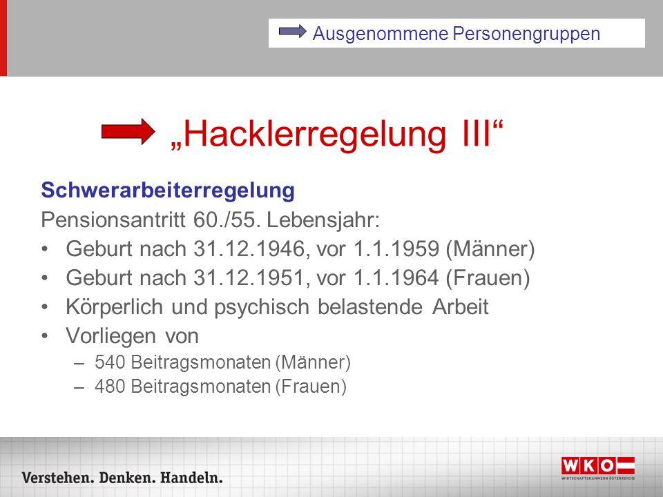 Hacklerregelung III Schwerarbeiterregelung Pensionsantritt 60./55. Lebensjahr: Geburt nach 31.12.1946, vor 1.1.1959 (Männer) Geburt nach 31.12.1951, v
