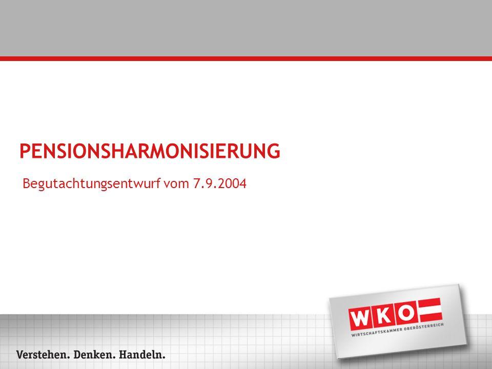 PENSIONSHARMONISIERUNG Begutachtungsentwurf vom 7.9.2004