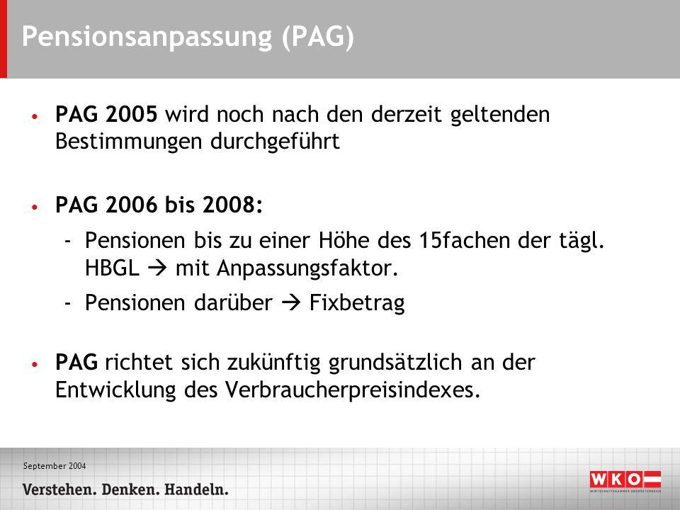 September 2004 Pensionsanpassung (PAG) PAG 2005 wird noch nach den derzeit geltenden Bestimmungen durchgeführt PAG 2006 bis 2008: -Pensionen bis zu einer Höhe des 15fachen der tägl.
