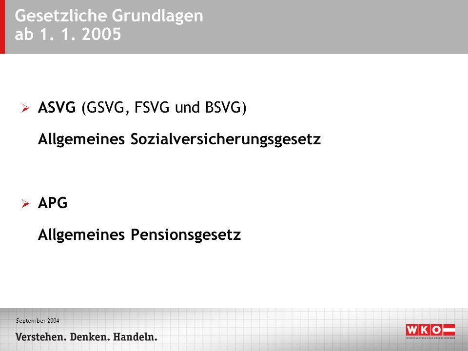 September 2004 Gesetzliche Grundlagen ab 1. 1. 2005 ASVG (GSVG, FSVG und BSVG) Allgemeines Sozialversicherungsgesetz APG Allgemeines Pensionsgesetz