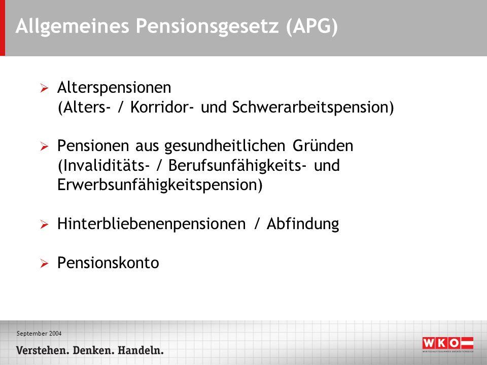 September 2004 Allgemeines Pensionsgesetz (APG) Alterspensionen (Alters- / Korridor- und Schwerarbeitspension) Pensionen aus gesundheitlichen Gründen (Invaliditäts- / Berufsunfähigkeits- und Erwerbsunfähigkeitspension) Hinterbliebenenpensionen / Abfindung Pensionskonto