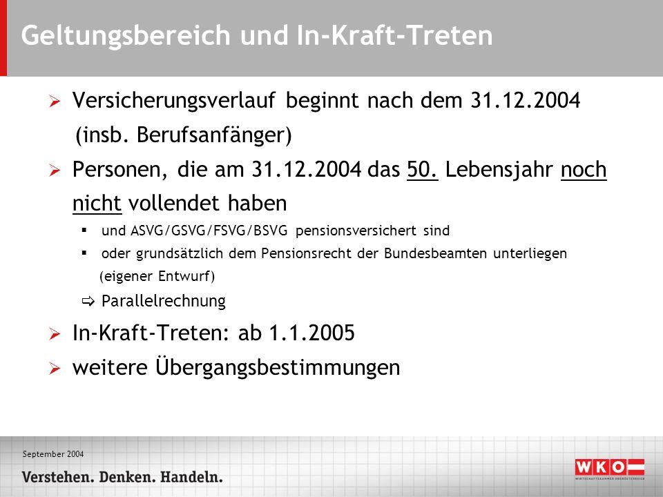 September 2004 Geltungsbereich und In-Kraft-Treten Versicherungsverlauf beginnt nach dem 31.12.2004 (insb.