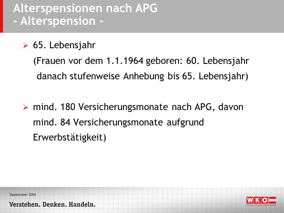 September 2004 Alterspensionen nach APG - Alterspension - 65. Lebensjahr (Frauen vor dem 1.1.1964 geboren: 60. Lebensjahr danach stufenweise Anhebung