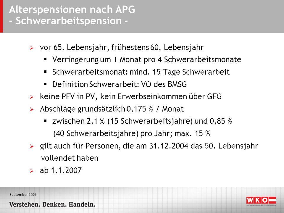 September 2004 Alterspensionen nach APG - Schwerarbeitspension - vor 65. Lebensjahr, frühestens 60. Lebensjahr Verringerung um 1 Monat pro 4 Schwerarb