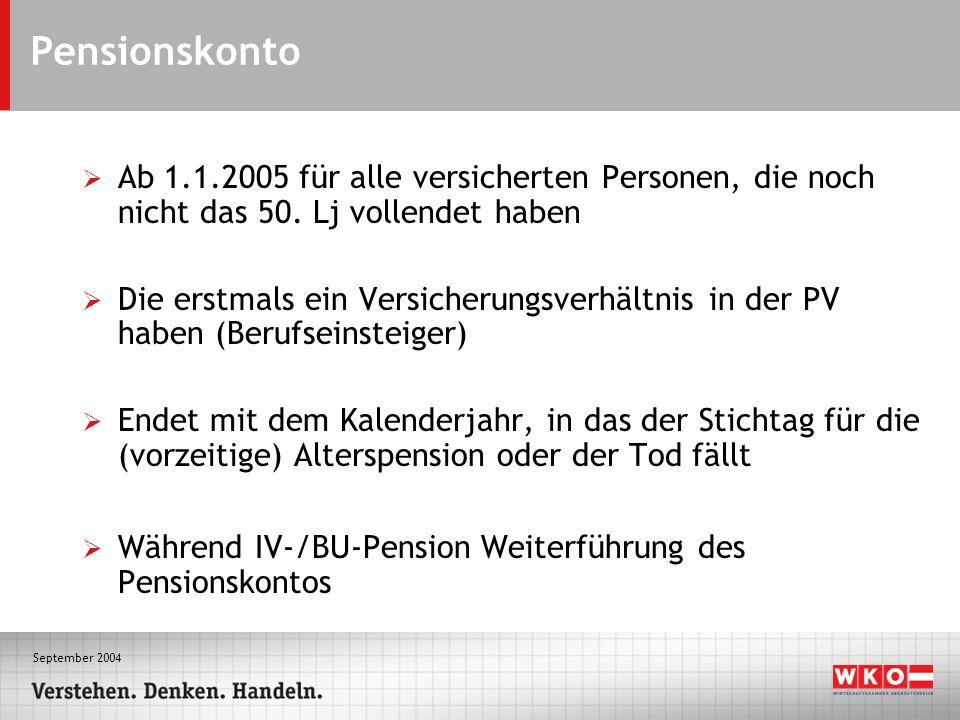 September 2004 Pensionskonto Ab 1.1.2005 für alle versicherten Personen, die noch nicht das 50. Lj vollendet haben Die erstmals ein Versicherungsverhä