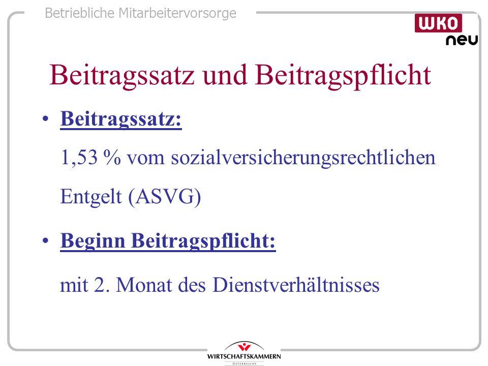 Betriebliche Mitarbeitervorsorge Beitragssatz und Beitragspflicht Beitragssatz: 1,53 % vom sozialversicherungsrechtlichen Entgelt (ASVG) Beginn Beitra