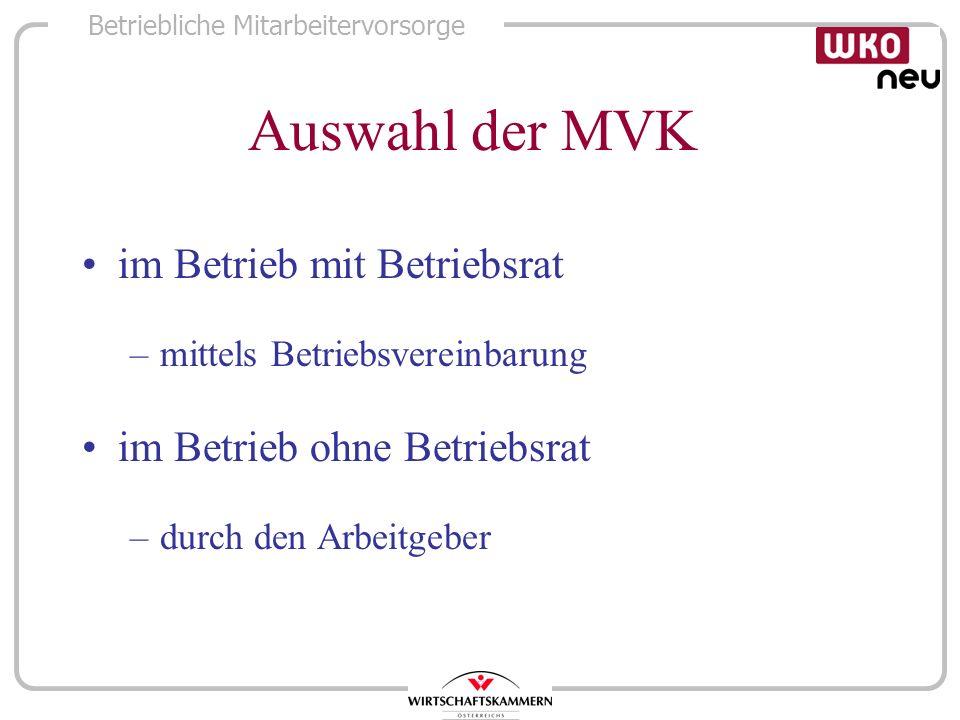 Betriebliche Mitarbeitervorsorge Auswahl der MVK im Betrieb mit Betriebsrat –mittels Betriebsvereinbarung im Betrieb ohne Betriebsrat –durch den Arbei